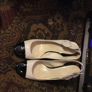 Shoes - White and tan pumps
